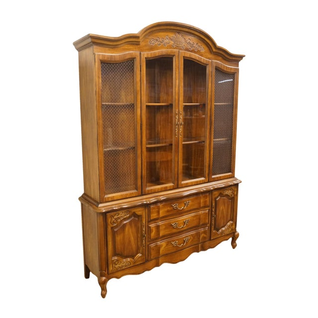 """French 20th Century French Bernhardt Furniture 60"""" Buffet With Lighted China Cabinet For Sale - Image 3 of 12"""