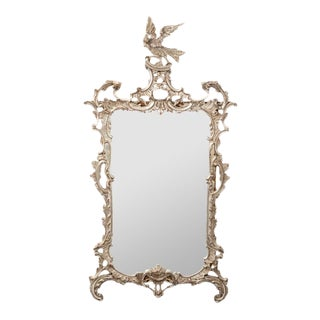 French Silver Gilt Mirror With Phoenix For Sale