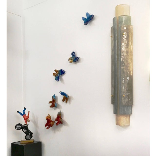 Flight of Blue Butterflies Contemporary Blown Glass Wall Art Sculpture For Sale In New York - Image 6 of 11