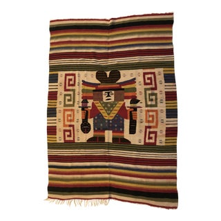 Vintage Handmade Wool Tribal Rug For Sale