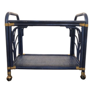 1960s Hollywood Regency Navy and Gold Rattan Bar or Tea Cart For Sale