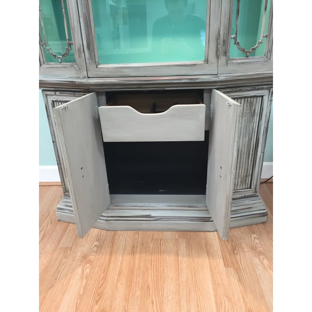 Gray Mid-Century China Cabinet Hutch - Image 9 of 11