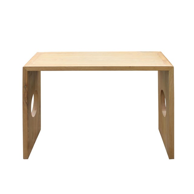 Brown Oriental Zen Unfinished Wood Slim Open Side Table For Sale - Image 8 of 8