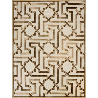 Contemporary Schumacher X Mary McDonald Patterson Flynn Martin Arabesque Maze Hand Knotted Wool Silk Geometric Rug - 9′ × 12′ For Sale