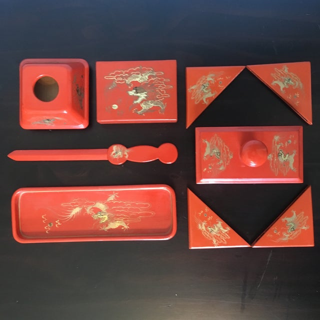 1940s Hand Crafted Wwii Japanese Gilt Enamel Desk Set - 9 Pc. For Sale - Image 13 of 13