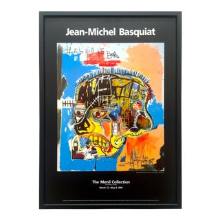 "Jean Michel Basquiat Rare Vintage 1993 Iconic Lithograph Print Framed Collector's Exhibition Poster "" Skull "" 1981 For Sale"