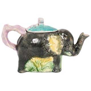 "English Majolica ""Jumbo"" Elephant Tea Pot by Thomas Forester For Sale"