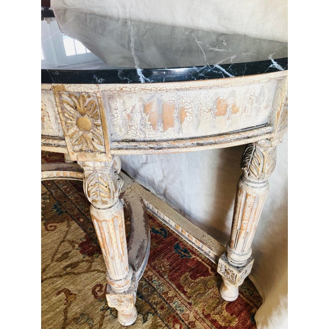 Early 21st Century French Country Painted Demi-Lune Table For Sale - Image 5 of 7