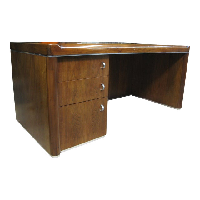 Art Deco Walnut Desk For Sale
