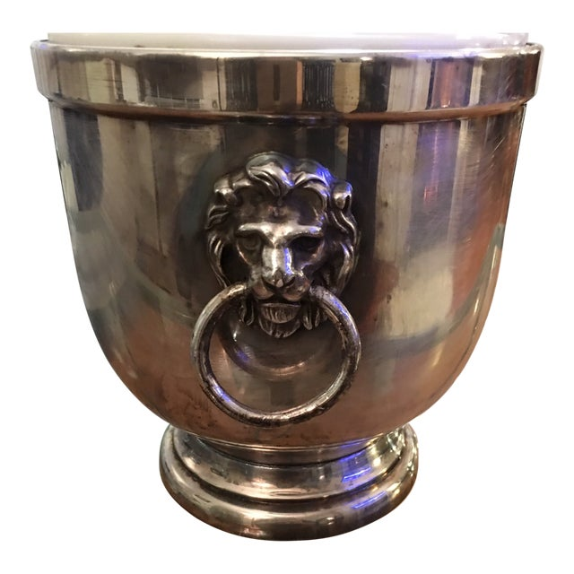 Antique Old English Sheffield Silver Lion Head Ice Bucket For Sale