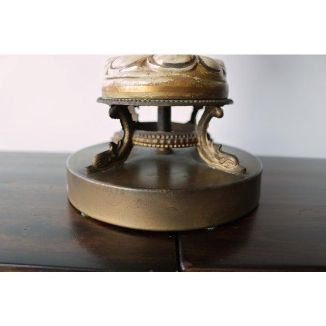 Ceramic Vintage Mid-Century Lamp & Fiberglass Lamp Shade For Sale - Image 7 of 11