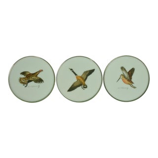 1950s Vintage Cyril Gorainoff Milk Glass Game Bird Coasters - Set of 3