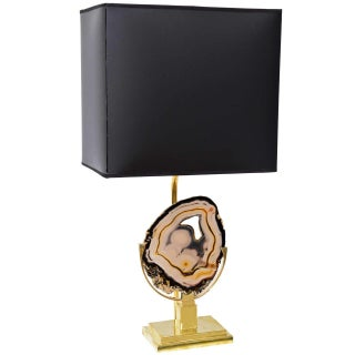 Willy Daro Style Brass Agate Disc Table Lamp For Sale