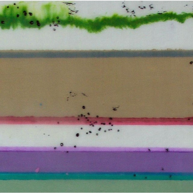 """Contemporary Original Encaustic Mixed Media Painting by Gina Cochran """"Confections No. 34"""" - Stripes For Sale - Image 3 of 9"""