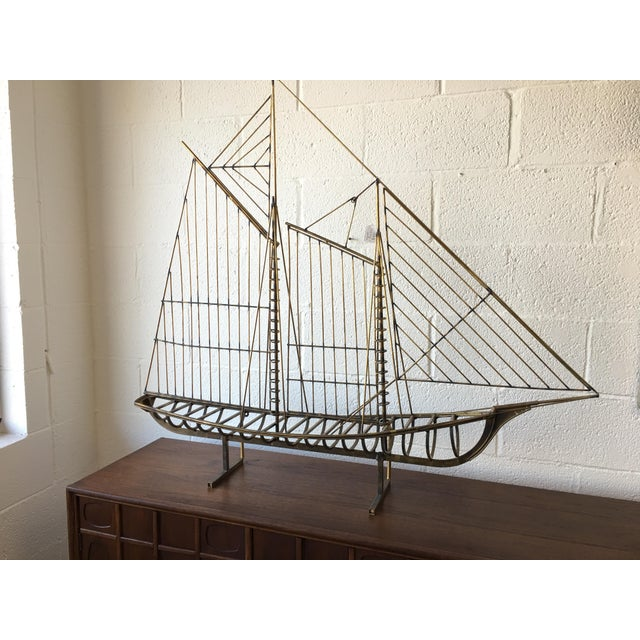 C.Jere Brass Schooner Ship Sculpture For Sale - Image 11 of 11