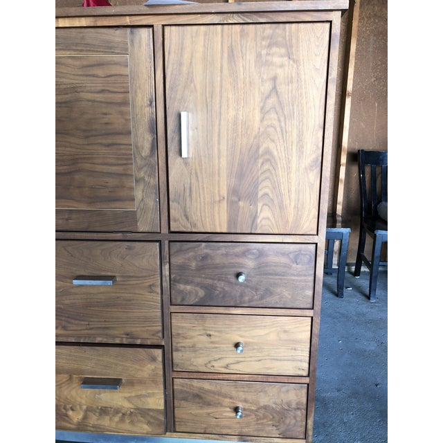 Contemporary Room & Board Linear Walnut Office Armoire For Sale - Image 3 of 13