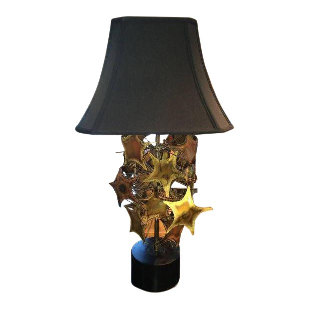 Gold Curtis Jere Style Brutalist Mid-Century Lamp For Sale - Image 8 of 8