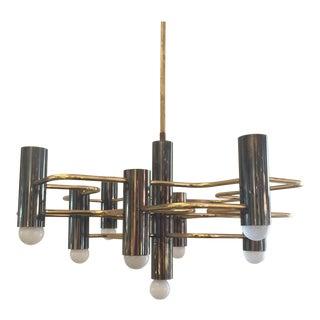 1970s Mid-Century Modern Sociolari Brass Chandelier