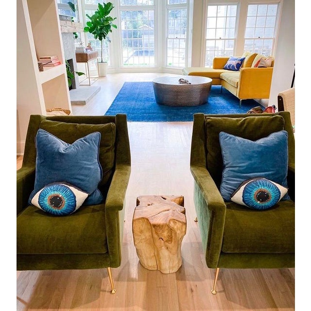 "Contemporary ""Emerson"" Blue Eye Sculpted Pillows - a Pair, Original Textile Art For Sale - Image 3 of 10"