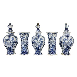 Delft Five-Piece Blue and White Pottery Garniture For Sale