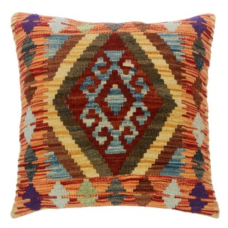"""Cleora Rust/Gray Hand-Woven Kilim Throw Pillow(18""""x18"""") For Sale"""