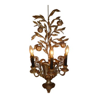 1950s Hollywood Regency Carved Silvered Wood & Metal Pomegranate Tree Sconce