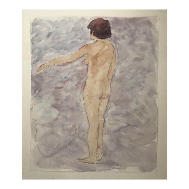 1980s Contemporary Watercolor Painting of Standing Female Nude For Sale