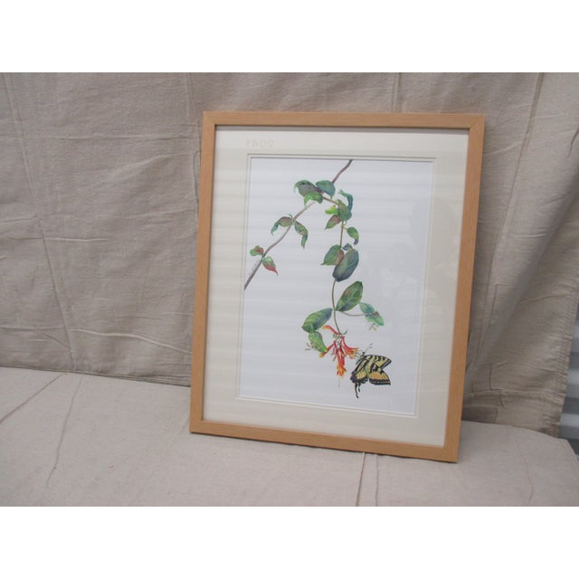 Late 20th Century Vintage Watercolor of a Butterfly and Flower by Therese Bartholome For Sale - Image 5 of 5