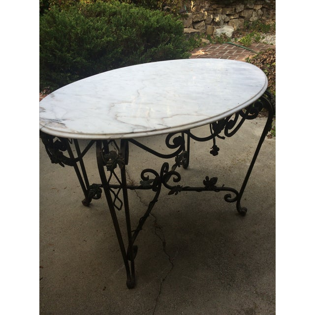 Solid Marble Top Beveled Wrought Iron Table - Image 2 of 10