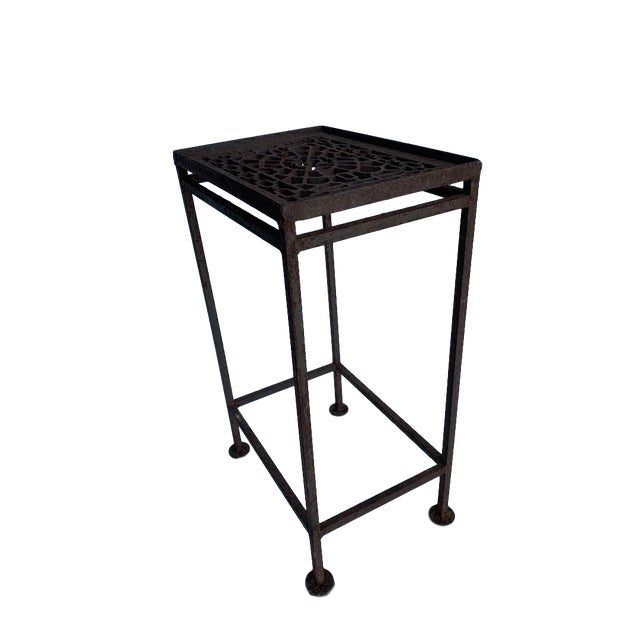 Americana 20th Century Boho Chic Hand Made Iron Cocktail/Side Table For Sale - Image 3 of 5