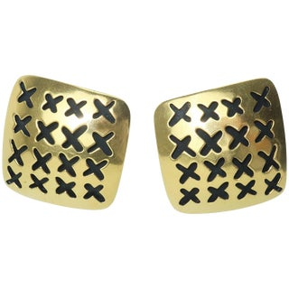 Vaubel Stylized Gold Vermeil Perforated 'X' Earrings For Sale