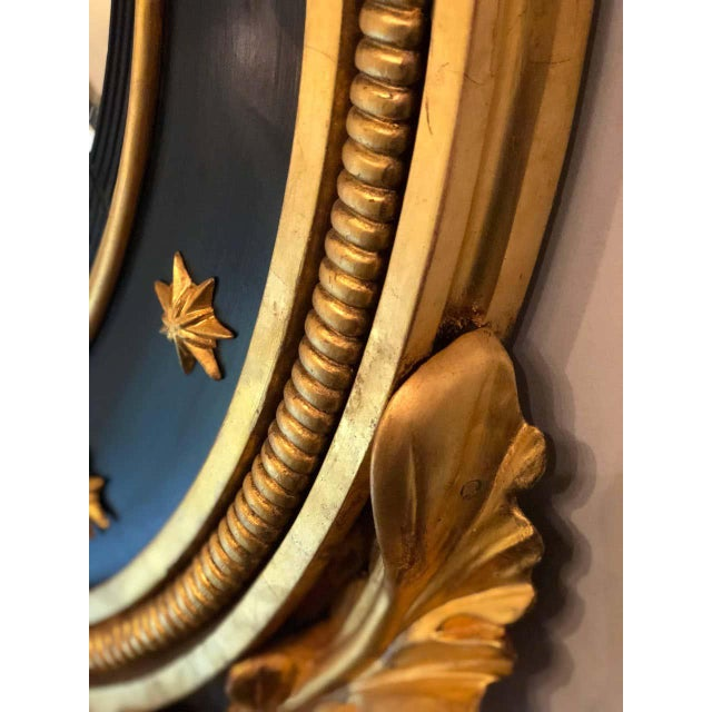 Gold Late 19th Century Regency Carved and Ebonized Giltwood Bullseye Convex Mirror For Sale - Image 8 of 11