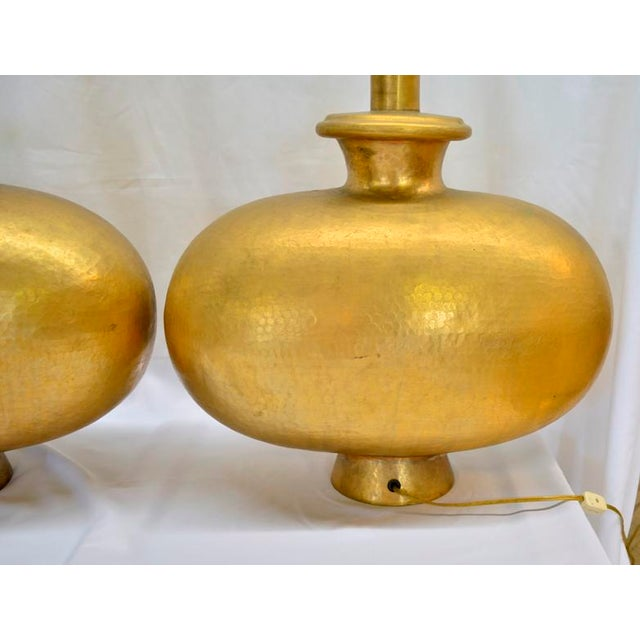 Mid Century Modern Copper Repousse Lamps - a Pair For Sale - Image 4 of 8