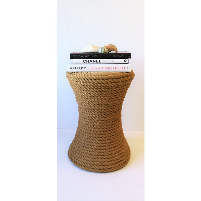 Boho Chic Nautical Rope Round Side or End Table For Sale - Image 3 of 10