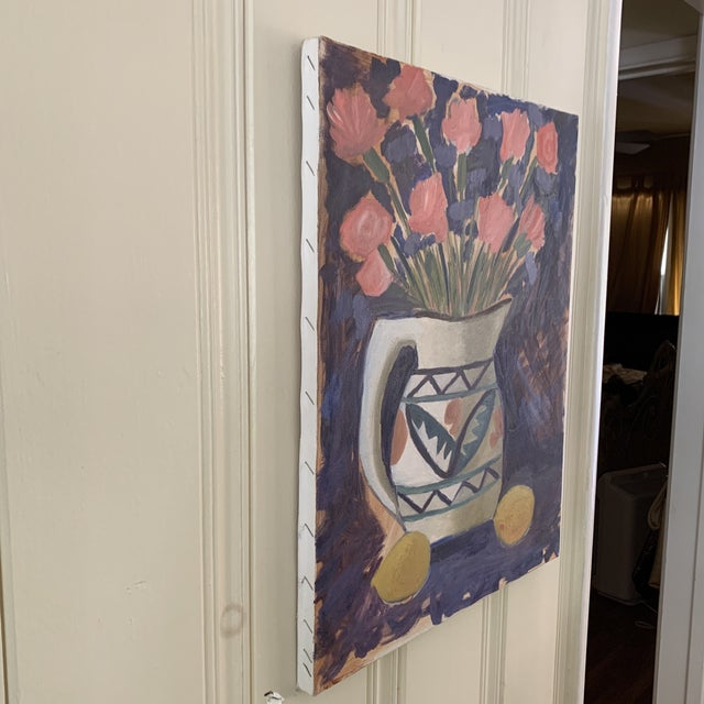 Vintage Vivid Floral Still Life Canvas Painting For Sale - Image 4 of 8