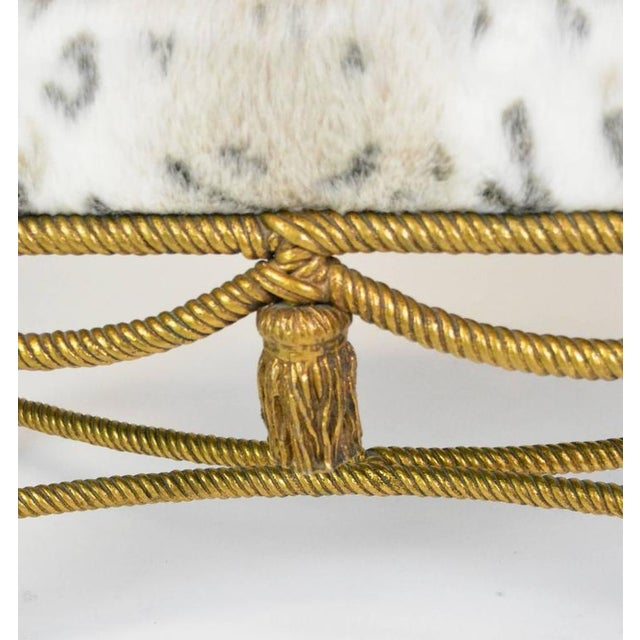 Hollywood Regency Gilt Rope and Tassel Bench For Sale - Image 4 of 5
