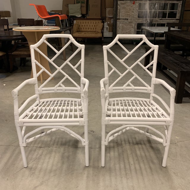 New New Pacific Direct Kara Rattan White Arm Chairs For Sale - Image 9 of 12