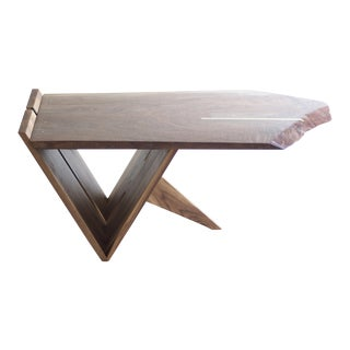 Mid-Century Modern Cantilevered Nakashima Style Claro Walnut + Brass Coffee Table For Sale