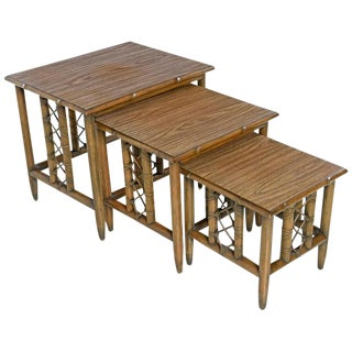 Midcentury Bamboo Rattan Laminate Top Nesting Table, Set of 3 For Sale