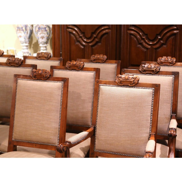 Suite of Twelve Carved Walnut Chairs From Ralph Lauren With Chenille and Leather For Sale - Image 4 of 13