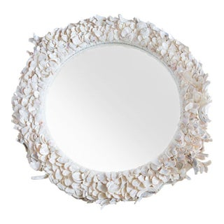 Large Round Sea Shell Mirror For Sale