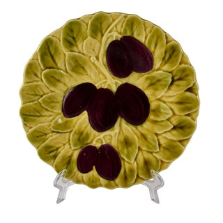 Sarreguemines French Majolica Plum Fruit & Leaf Plate For Sale