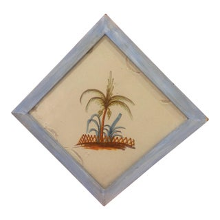 Antique Palm Tree Painted Tile For Sale