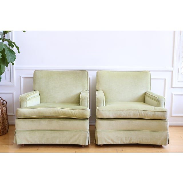 Mid-Century Modern Green Velvet Club Chairs - A Pair - Image 2 of 9