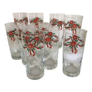 Vintage Fairfield 14 Ounce Poinsettia Red Ribbon & Greenery Glasses- Set of 10 For Sale