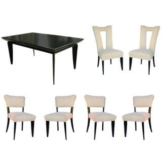Paul Laszlo Black Lacquer Knife-Leg Dining Set for Brown Saltman For Sale