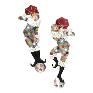 Lifesize Vintage 1950's Plaster Steeplechase Park Ny Clown Sculptures - a Pair For Sale