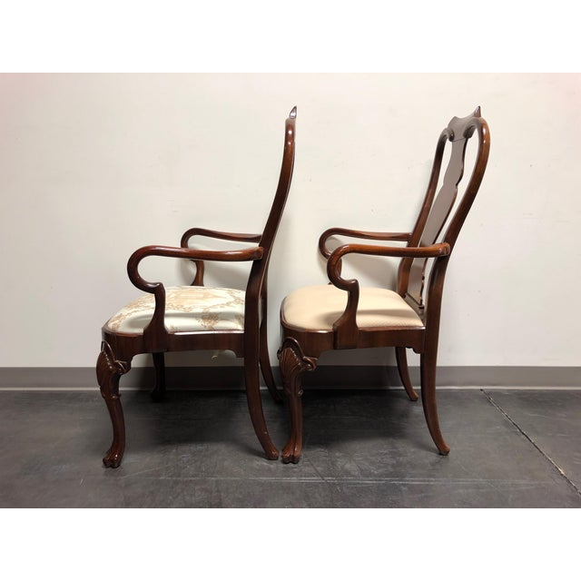 Solid Mahogany Queen Anne Dining Captain's Arm Chairs - Pair For Sale In Charlotte - Image 6 of 11