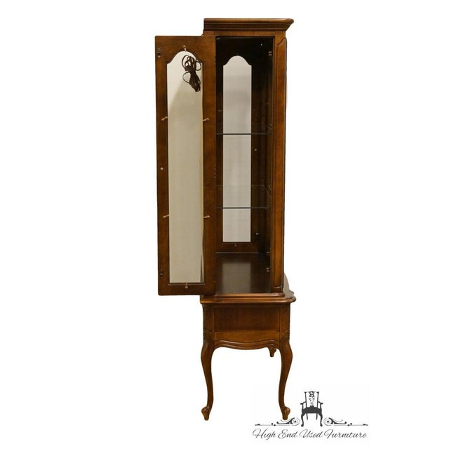 Hammary Solid Cherry Louis XVI Country French Lighted Curio Display Cabinet For Sale - Image 9 of 13
