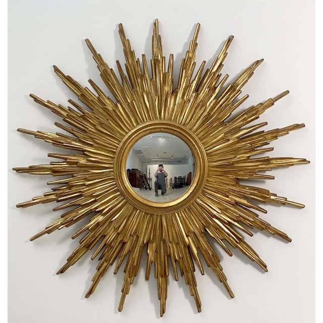 Belgian Gilt Sunburst or Starburst Convex Mirror (Diameter 31 1/2) For Sale - Image 10 of 13